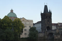 Charles Bridge and Monastery of the Knights of Cross Royalty Free Stock Image