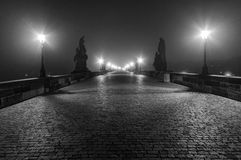 Charles bridge. In morning fog Royalty Free Stock Photography