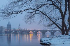 Charles Bridge in the morning Royalty Free Stock Photo