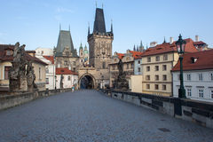 Charles Bridge in the morning Royalty Free Stock Photography