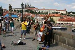 Charles Bridge-_musicians Lizenzfreies Stockbild