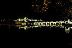 Charles Bridge nachts in Prag - Tschechische Republik Lizenzfreie Stockfotografie
