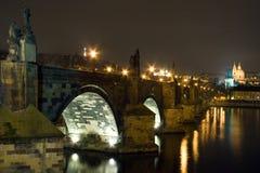 Charles bridge at night Royalty Free Stock Photo