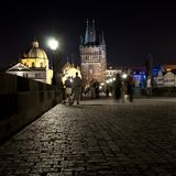 Charles Bridge night. Royalty Free Stock Image