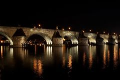 Charles bridge at night. The oldest preserved Prague bridge, founded by Charles IV in 1357. It was built after the Petr Parler´s design in the High Gothic royalty free stock image
