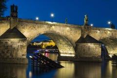 Charles bridge at night. Old Charles bridge in Prague at night stock photo