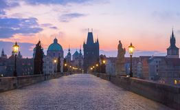 Charles Bridge. Night panorama of Prague, Czech Republic royalty free stock photos