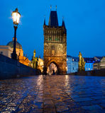 Charles Bridge at night Royalty Free Stock Photo