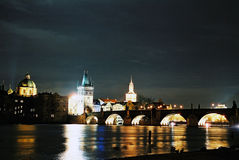 Charles Bridge at night in Prague Royalty Free Stock Image