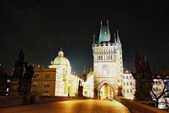 Charles Bridge at night in Prague Royalty Free Stock Photo