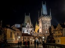 Charles Bridge at night, Prague. Charles Bridge at nighttime, Prague, Czech Republic Stock Images