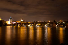 Charles Bridge at Night, Prague, Czech Republic Stock Image