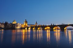 Charles bridge. At night - Prague, Czech Republic Stock Photo