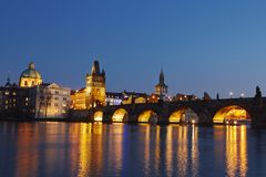 Charles bridge. At night - Prague, Czech Republic Royalty Free Stock Photography