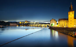 Charles Bridge at night, Prague, Czech Republic Royalty Free Stock Images