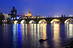 Charles Bridge at night Royalty Free Stock Image