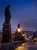 Charles Bridge at night. Prague, Czech Republic Stock Images