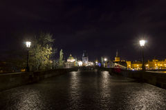 Charles bridge at night, Prague, Czech republic Stock Photo