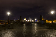 Charles bridge at night, Prague, Czech republic Royalty Free Stock Photography