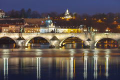 Charles Bridge at night in Prague, Czech Republic Stock Photography