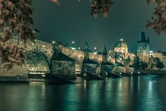 Charles Bridge at night in Prague, Czech Republic Royalty Free Stock Images