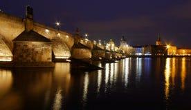 Charles Bridge at night, Prague, Czech Republic. Charles Bridge at night over the Vltava River, Prague, Czech Republic Stock Photo