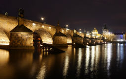 Charles Bridge at night, Prague, Czech Republic. Charles Bridge at night over the Vltava River, Prague, Czech Republic Royalty Free Stock Photo