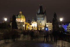 Charles bridge by night, Prague, Czech Republic Stock Photo