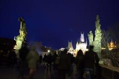 Charles Bridge night Prague Royalty Free Stock Photo