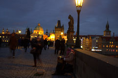Charles Bridge at night,Prague Royalty Free Stock Image