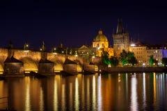 Charles Bridge at Night Prague Royalty Free Stock Photos