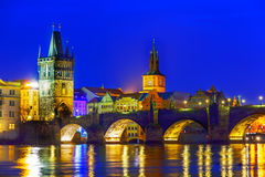 Charles Bridge at night Royalty Free Stock Images