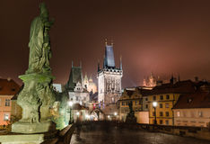 Charles Bridge, night scene in Prague Stock Photo