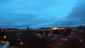 Charles Bridge night view. Charles Bridge viewed from hotel Corinthia in Prague, Czechia royalty free stock photography