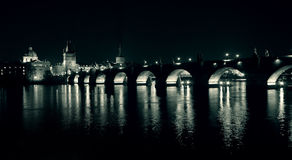 Charles Bridge at night Royalty Free Stock Photos