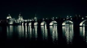 Charles Bridge at night Royalty Free Stock Photos