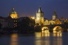 Charles bridge noc Fotografia Stock
