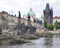 Charles Bridge and Old Gate, Prague, Czech Republic, Europe Royalty Free Stock Images