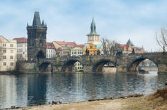Charles Bridge and Old Tower view, Prague Royalty Free Stock Image