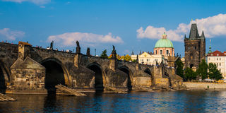 Charles Bridge and Old Town Bridge Tower in Prague Royalty Free Stock Image