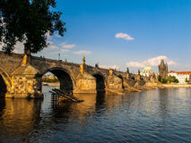 Charles Bridge and Old Town Bridge Tower in Prague Stock Photo
