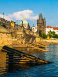Charles Bridge and Old Town Bridge Tower in Prague Royalty Free Stock Photo