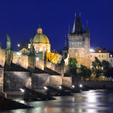Charles Bridge and Old Town Bridge Tower Royalty Free Stock Photos