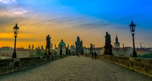 Charles Bridge and Old Town at sunrise Stock Image
