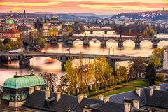 Charles Bridge, Prague, Czech Republic. Charles Bridge with the other bridges over the Moldava river at sunset, Prague, Czech Republic Royalty Free Stock Photos