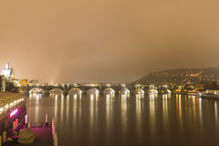 Charles bridge and other historic buildings at night, Prague, Czech republic. Long exposure shot of the Charles Bridge and other historic buildings ( St. Francis Royalty Free Stock Photo