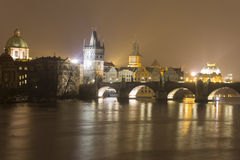 Charles bridge and other historic buildings at night, Prague, Czech republic Stock Images
