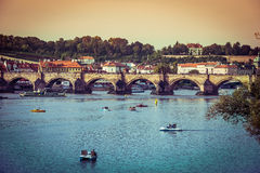 Charles Bridge and other sights in Prague Stock Photos