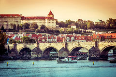 Charles Bridge and other sights in Prague Royalty Free Stock Images