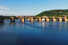 Charles bridge over river Vltava Royalty Free Stock Images